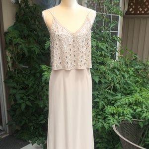 Aidan Mattox gown blush sequins gemstones NWOT